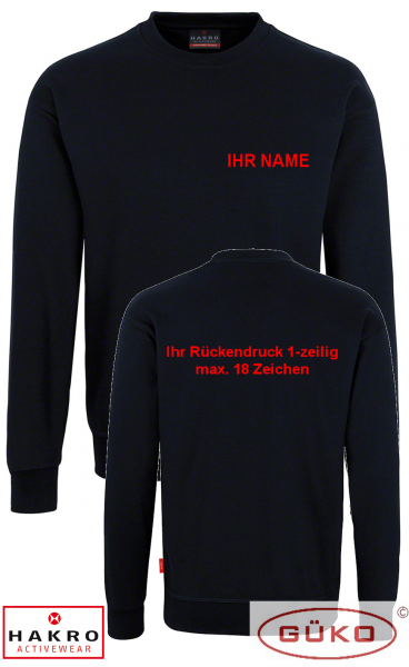 HAKRO Sweatshirt schwarz inkl. Brust und Rückendruck nach Wahl