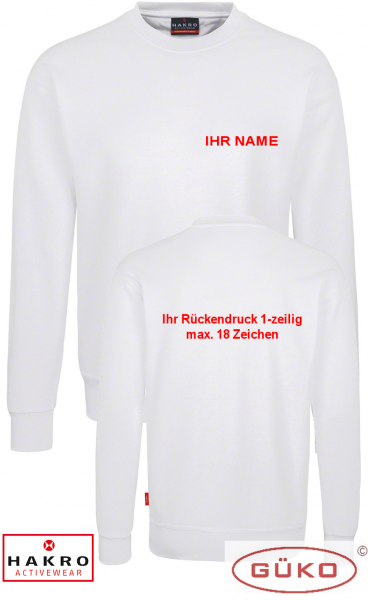 HAKRO Sweatshirt weiß inkl. Brust und Rückendruck nach Wahl