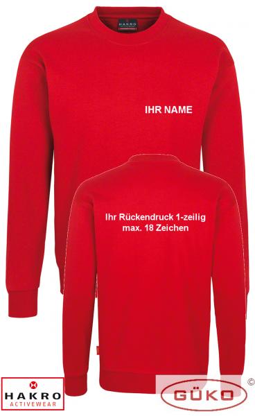 HAKRO Sweatshirt rot inkl. Brust und Rückendruck nach Wahl