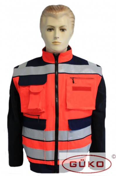 Rettungsdienstweste EW05 leuchtrot dunkelblau