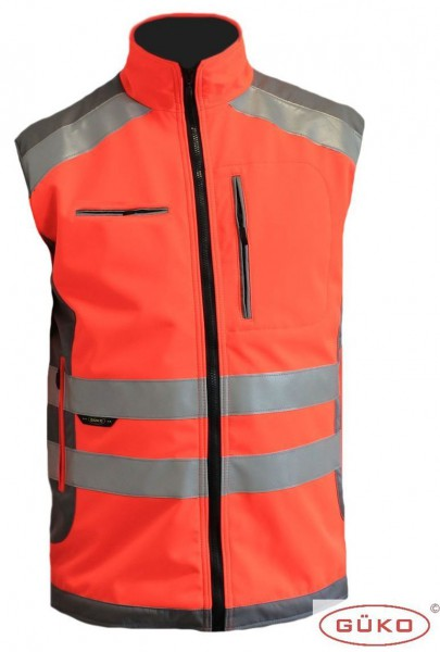 Rettungsdienst-Softshellweste leuchtrot/grau